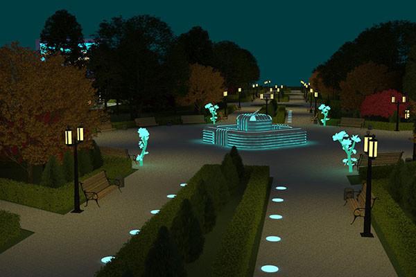 Молодежный парк в Бобруйске: фонтан с подсветкой, бесплатный WI-FI и кинотеатр