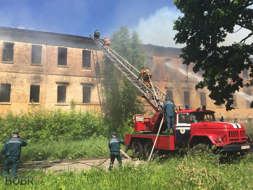 Полыхало здание возле Бобруйск-Арены