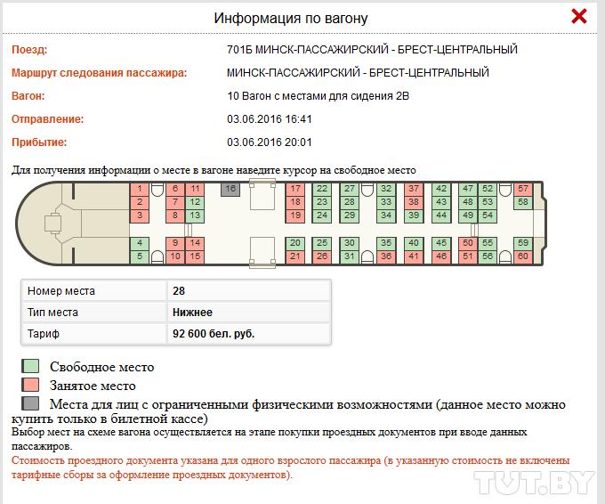 Схема общего вагона белжд