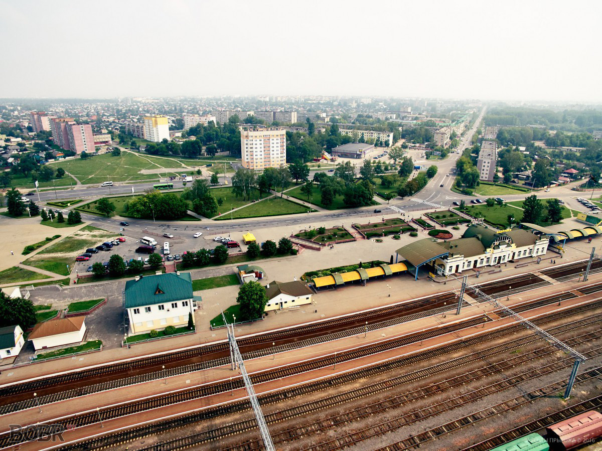 ТЭЦ-2, вокзалы ж.д. станции «Бобруйск» и «Березина»: вид с высоты