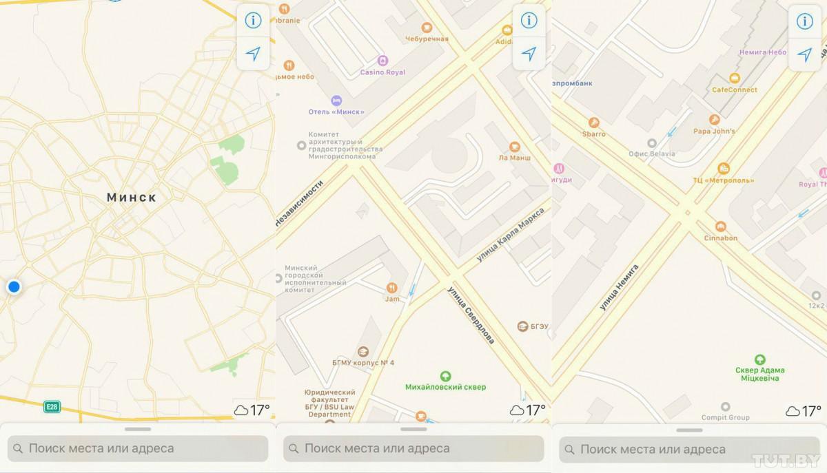 На обновленных картах в деталях виден Бобруйск, а также другие населенные пункты.