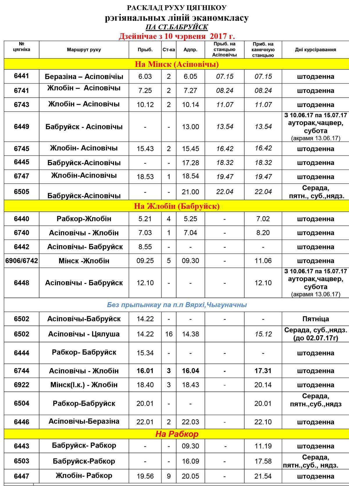 Расписание движения поездов с 10 июня