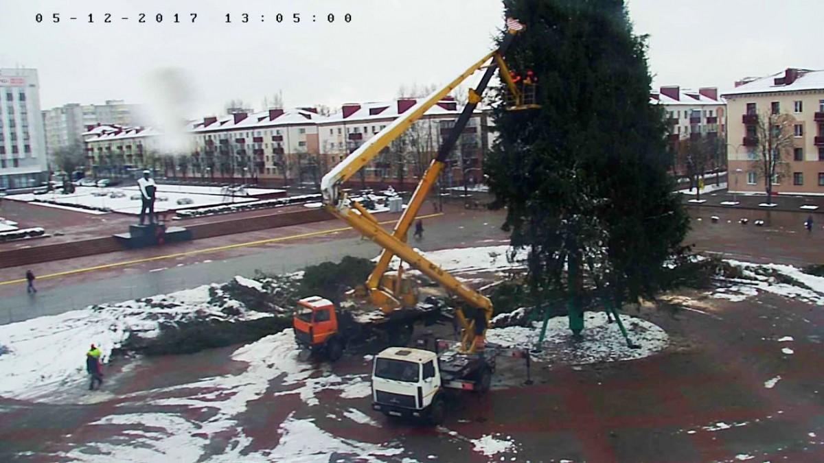 Бобруйчане могут наблюдать процесс установки новогодней красавицы на площади им. Ленина в онлайн режиме.