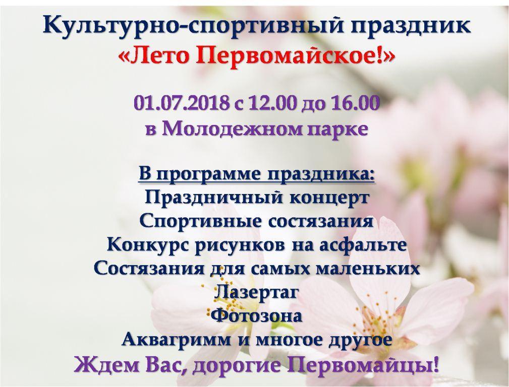 Спортивную, активную и творческую молодёжь Бобруйска приглашают на «Лето Первомайское!»