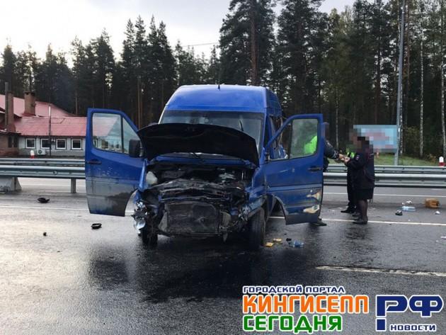 В Ленинградской области бус с рабочими из Беларуси попал в ДТП: один погибший, шесть пострадавших