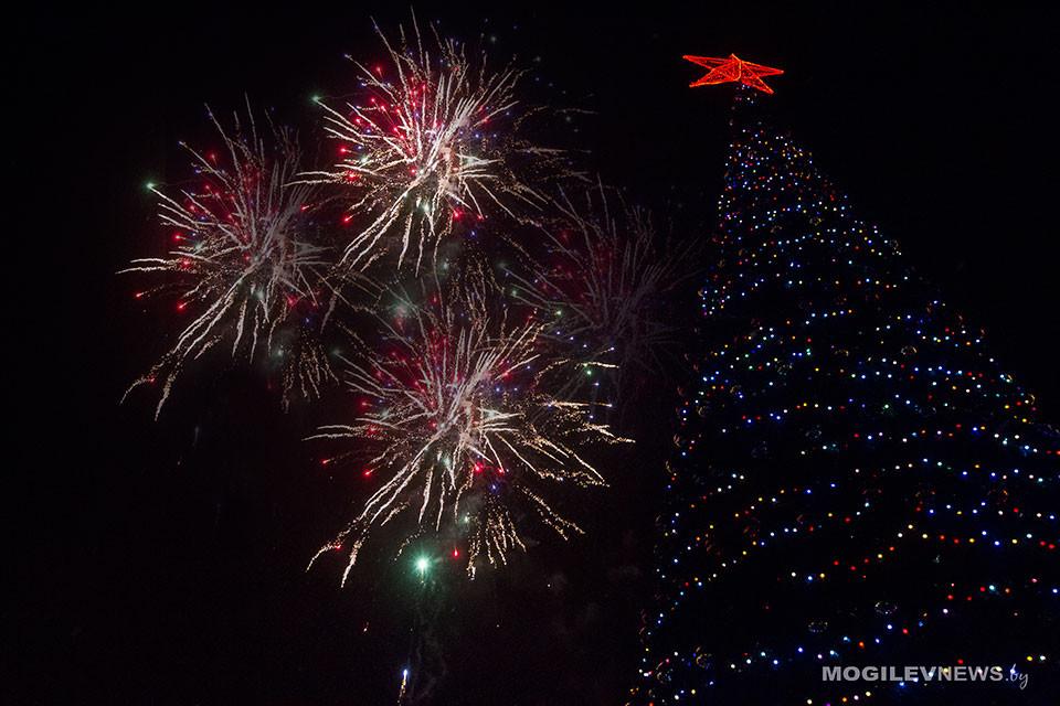 В новогоднюю ночь на уличные елки в Могилевской области пришло более 41 тысячи человек