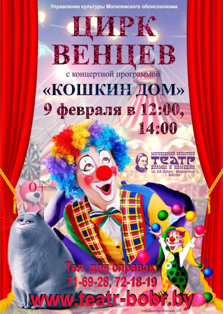 Цирк венцев приезжает в Бобруйск с концертной программой  «Кошкин дом»