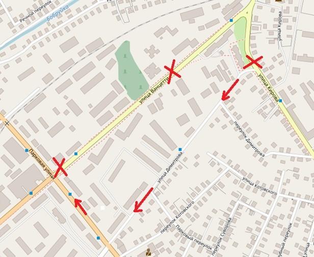 С 10 июня по 10 июля будет перекрыто движение по улице Ванцетти на участке от переулка Переездного до улицы Парковой.