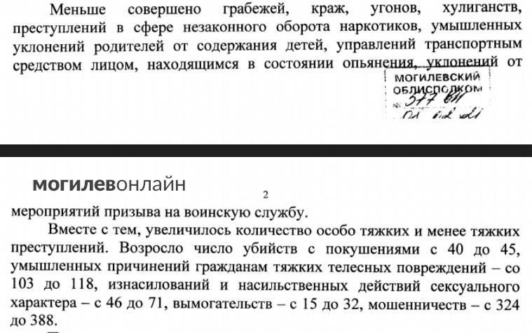 Прокуратура: в 2020 году в Могилевской области ухудшилась обстановка с преступностью, увеличилось количество особо тяжких преступлений