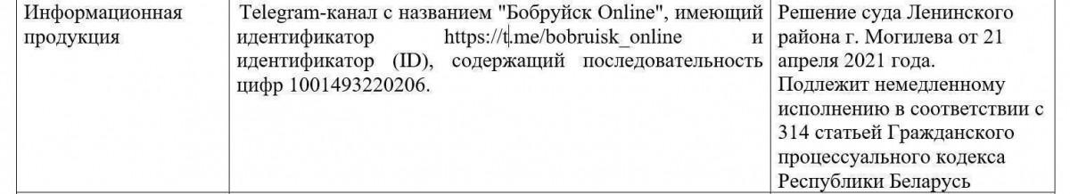 Еще один телеграм-канал Бобруйска признан экстремистским